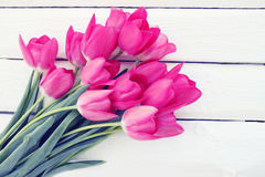 Big bouquet of pink tulips. Big beautiful bouquet of pink tulips, tinted Stock Photo