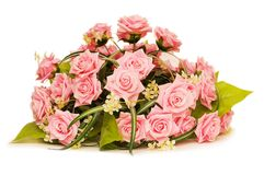 Big bouquet of roses isolated on white Royalty Free Stock Photo