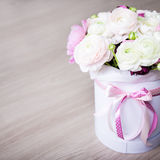 Big bouquet of summer flowers in white round box Royalty Free Stock Image