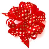 Big bow made of ribbon in polka dots. Beautiful big bow made of red ribbon in polka dots with shadow on white background Stock Image