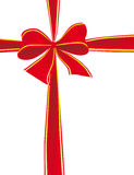 Big bow of red ribbon. Vector illustration Stock Image