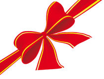 Big bow of red ribbon. Vector illustration Stock Photography