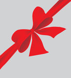 Big bow of red ribbon. Vector illustration Royalty Free Stock Images