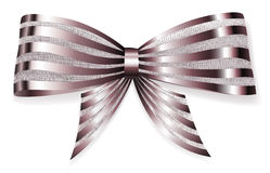 Big bow of striped shiny ribbon Royalty Free Stock Photography