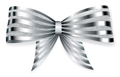 Big bow of striped shiny ribbon Stock Image