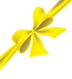 Big bow of yellow ribbon Royalty Free Stock Photo