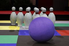 Big Bowling ball with pins. For kids game Royalty Free Stock Image
