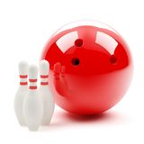 Big bowling ball and skittles Royalty Free Stock Photos