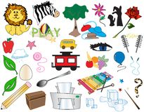 Big Box of Cartoons 1 [Vector]. All cartoon styled illustrations. Children themed objects include: lion, zabra, tree, flower, shadow puppets, rose, hats, beach stock illustration