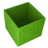 Big box covered a green grass. Royalty Free Stock Photography