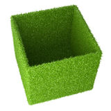Big box covered a green grass. 3d image  on a white background Royalty Free Stock Photography