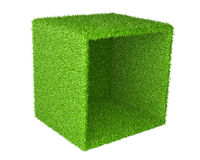 Big box inverted on the side covered a green grass. Royalty Free Stock Image