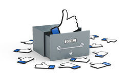 Big box with likes! Social networks metaphor. Thumbs up. 3d illustration Stock Image
