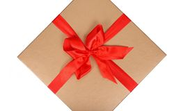 Big box with red ribbon Stock Photo