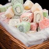 Big box of spiral folded turkish delight Stock Photo