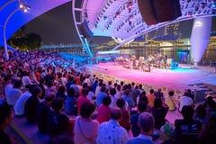 big boy koncert tłum dziewczyn do etapu siedzieć noc zdjęcia royalty free