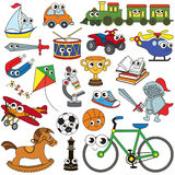 Big Boy Toy set, the collection of coloring book template, the group of outline digital elements Royalty Free Stock Images