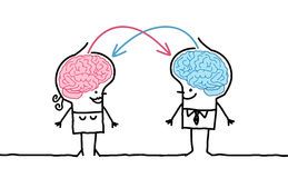 Big brain couple & exchange. Hand drawn cartoon characters Royalty Free Stock Images