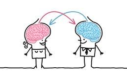 Big brain couple & exchange. Hand drawn cartoon characters stock illustration