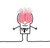 Big brain man & bubbles. Hand drawn cartoon characters vector illustration