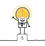 Big brain man & excellence. Hand drawn cartoon characters royalty free illustration