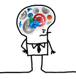 Big Brain Man - gear and concept. Cartoon Big Brain Man - gear and concept Stock Photos