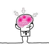 Big brain man & headache Stock Image