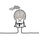 Big brain man & pollution. Hand drawn cartoon characters royalty free illustration