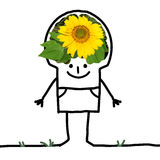 Big Brain Man - sunflower and smile royalty free stock photography