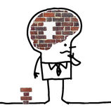 Big Brain Man - wall and puzzle royalty free stock images
