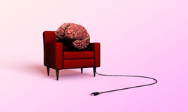 Big brain relaxing in a red armchair Royalty Free Stock Image
