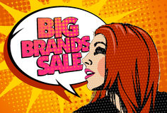 Big brands sale design with speaking girl in pop-a Stock Image