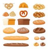 Big bread icons set. Whole grain, wheat and rye bread, toast, pretzel, ciabatta, croissant, bagel, french baguette, cinnamon bun. Vector illustration in flat royalty free illustration