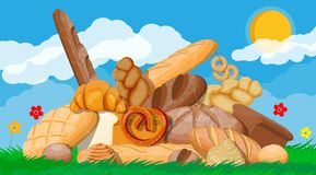 Big bread icons set. Nature royalty free illustration