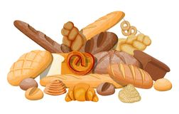 Big bread icons set. Whole grain, wheat and rye bread, toast, pretzel, ciabatta, croissant, bagel, french baguette, cinnamon bun. Vector illustration in flat stock illustration