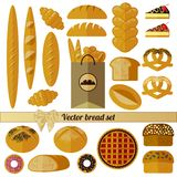 Big bread set. Isolated icons on white background vector illustration
