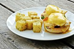 Big Breakfast of Eggs Benedict. Image of a big hearty breakfast Stock Photo