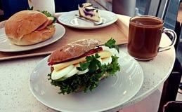 Big breakfast sandwich. Big sandwich breakfast at Arlanda airport Sweden Royalty Free Stock Photo