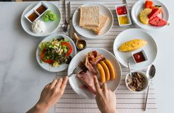 Big breakfast and some fruits Royalty Free Stock Photos