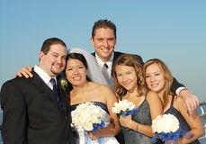 Big bridal party. Happy bridal party outside during a wedding Stock Photography