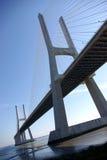 Big Bridge. Modern big concrete bridge over Tagus River in Lisbon, Portugal Royalty Free Stock Images