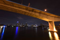 Big bridge against modern buildings in Bangkok Royalty Free Stock Image
