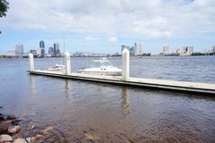 Jacksonville downtown bridge and dock royalty free stock photography