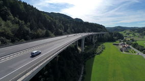 Big bridge of a highway. Aerial shoot of a big bridge of a highway road in a nature stock footage