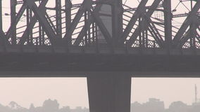 Big bridge on Hoogly river in Colcata, India Royalty Free Stock Photography