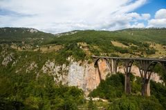 Big bridge in Montenegro across the river Royalty Free Stock Photos