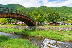 Big Bridge in Narai post town in Kiso valley Stock Photos