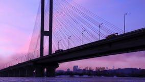 Big bridge over frozen river stock video footage