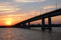A big bridge through the river Stock Images