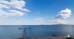 Big bridge in sea in Burgas, Bulgaria stock footage